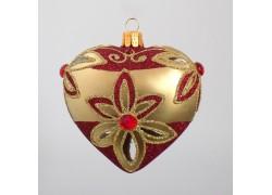 Christmas Heart - Ornament for Christmas Tree, Vintage Golden Mat www.sklenenevyrobky.cz