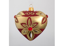Christmas Ornament Hearth Red and Gold 10cm www.sklenenevyrobky.cz