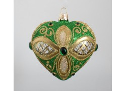 Christmas heart - ornament for Christmas tree, green - gold www.sklenenevyrobky.cz