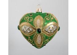 Srdce foukané 10 cm zelené