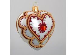 Christmas Ornament Heart White 10cm www.sklenenevyrobky.cz