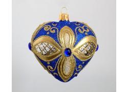 Christmas heart ornament - on Christmas tree, blue-gold decor www.sklenenevyrobky.cz