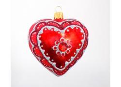 Christmas Ornament red Hearth 10cm www.sklenenevyrobky.cz