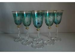 Wine glass, 6 pcs, decor flower, green, 250ml www.sklenenevyrobky.cz