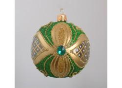 Christmas balls 8cm, decorated with green sprinkle www.sklenenevyrobky.cz