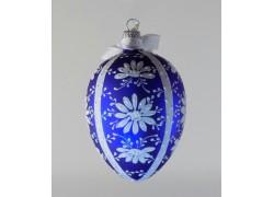 Velikonoční vejce 8002 modré s bílou kopretinou a mašlí