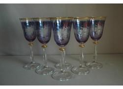 Sklenice na víno Angela 250ml set 6 ks rytá květina modrý listr