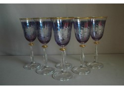 Wine glass, 6 pcs, flower decor, in blue, 250ml www.sklenenevyrobky.cz