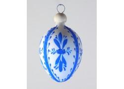 Velikonoční vejce bílé s modrým dekorem II a dřevěnou záponkou