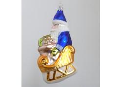 Vánoční ozdoba Santa na saních F388 modrý