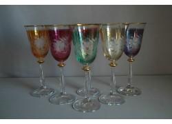 Wine glass, 6 pcs, flower decor, in 6 colors www.sklenenevyrobky.cz
