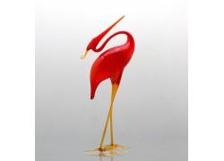 Heron from red glass www.sklenenevyrobky.cz