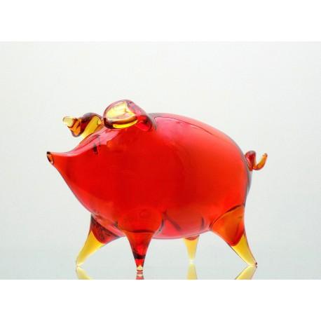 Piggy - red colour, blown glass www.sklenenevyrobky.cz