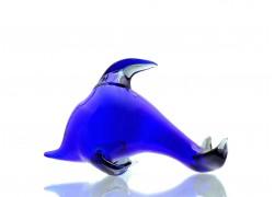 Blue glass dolphin www.sklenenevyrobky.cz