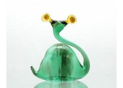 Snail green blown glass www.sklenenevyrobky.cz