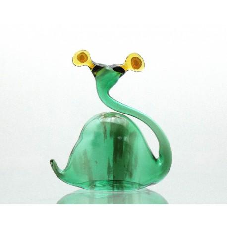 Šnek z foukaného skla zelený