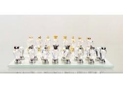 Šach z brúsených sklenených komponentov 15x15cm