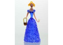 Skleněná rokoková dáma 13 cm s košíkem modrá
