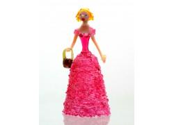 Figurka - Dáma s košíkem, v růžových šatech