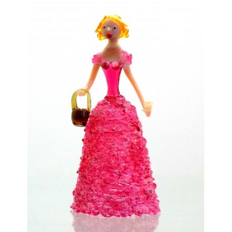 Skleněná rokoková dáma 13 cm s košíkem červená
