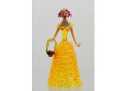 Skleněná rokoková dáma 13 cm s košíkem žlutá