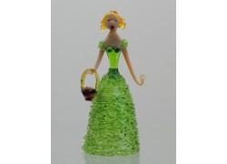 Figurine - lady with basket, in green dress www.sklenenevyrobky.cz