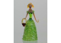 Skleněná rokoková dáma 13 cm s košíkem zelená