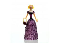 Figurine - lady with basket, in purple dress www.sklenenevyrobky.cz