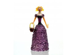 Skleněná rokoková dáma 13 cm s košíkem fialová