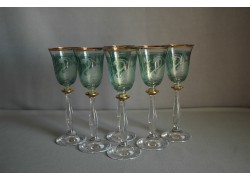 Aperitif glasses, 6 pcs, swans decor, green www.sklenenevyrobky.cz