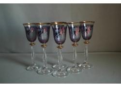 Aperitif glasses, 6 pcs, swans decor, blue www.sklenenevyrobky.cz