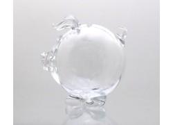Prasátko kasička čiré sklo 13 cm