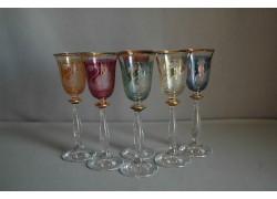 Aperitif glasses, 6 pcs, swans decor, in 6 colors www.sklenenevyrobky.cz