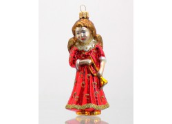 Vánoční ozdoba Anděl 805 s trumpetou červený 11x5,5x5,5 cm