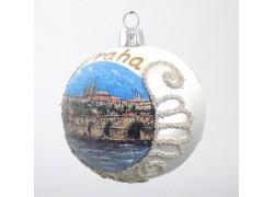 Vánoční ozdoba Koulička panorama Pražský hrad a Karlův most 80 mm