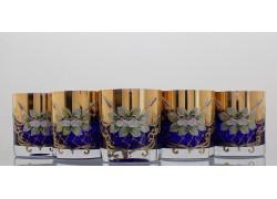 Sklenička na whisky set 6 ks cobalt zlacená a smaltovaná - modrá