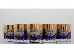 Whiskey glasses, 6 pcs, gilded and enamel, blue www.sklenenevyrobky.cz