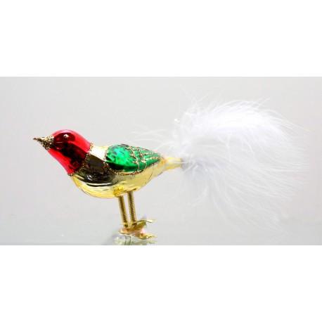 Vánoční ozdoba vrabec 3347 tříbarevný