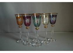 Aperitif glasses, 6 pcs, decor flower, 6 colors www.sklenenevyrobky.cz