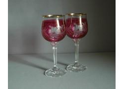 Wine glass, 2 pcs, flower decor, in red www.sklenenevyrobky.cz