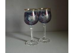 Wine glass, 2 pcs, flower flower, in blue www.sklenenevyrobky.cz