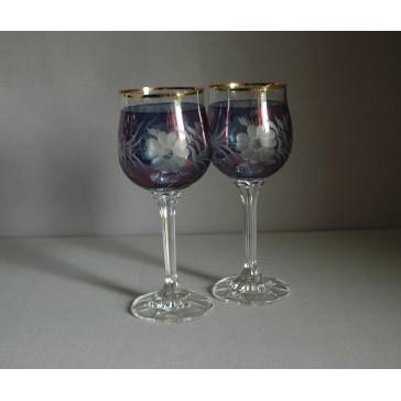 Poháre na víno, 2 ks, dekor kvetina, v modrej www.sklenenevyrobky.cz