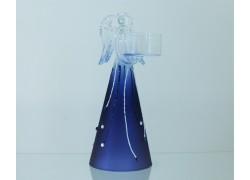 Christmas angel, on a candle, in a blue decor www.sklenenevyrobky.cz