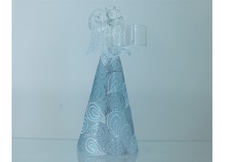 Christmas angel, with a candlestick, in a light blue decor www.sklenenevyrobky.cz
