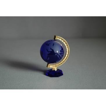 Globus z číreho skla v modrej farbe www.sklenenevyrobky.cz