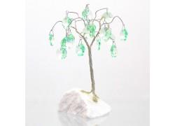 Stromek pro štěstí s křišťálovými ověsy malachytová zeleň