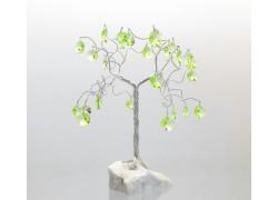 Stromek pro štěstí s křišťálovými ověsy ušlechtilá zeleň