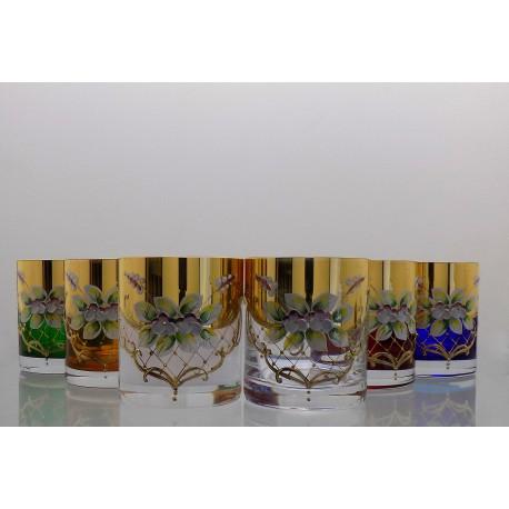 Barline glass 280ml for whiskey set 6 pcs, gilded and enamel www.sklenenevyrobky.cz