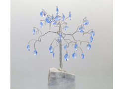 Stromek pro štěstí s křišťálovými ověsy vodní modř