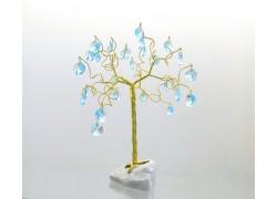 Stromek pro štěstí s křišťálovými ověsy akvamarín
